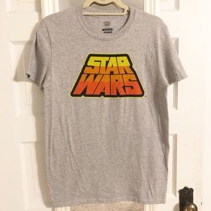 Star Wars Retro Logo Grey Men's T-Shirt Small